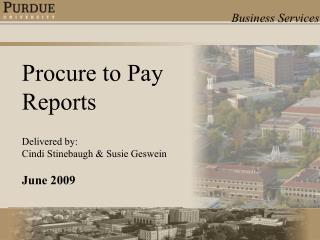 Procure to Pay Reports