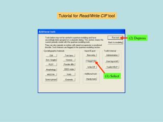 Tutorial for  Read/Write CIF  tool