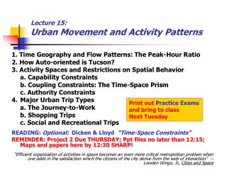 Lecture 15:  Urban Movement and Activity Patterns