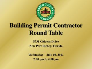 Building Permit Contractor Round Table