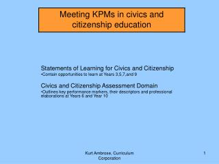 Statements of Learning for Civics and Citizenship