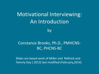 Motivational Interviewing: An Introduction