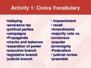 Activity 1: Civics Vocabulary