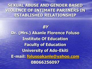 SEXUAL ABUSE AND GENDER BASED VIOLENCE OF INTIMATE PARTNERS IN ESTABLISHED RELATIONSHIP BY