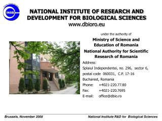 NATIONAL INSTITUTE OF RESEARCH AND DEVELOPMENT FOR BIOLOGICAL SCIENCES dbioro.eu