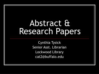 Abstract & Research Papers