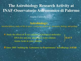 The Astrobiology Research Activity at  INAF-Osservatorio Astronomico di Palermo