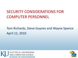 SECURITY CONSIDERATIONS FOR COMPUTER PERSONNEL