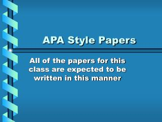 APA Style Papers