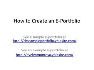 How to Create an E-Portfolio