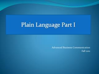 Plain Language Part I