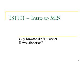 IS1101 – Intro to MIS