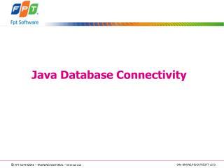 Java  Database Connectivity