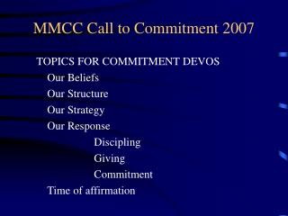 MMCC Call to Commitment 2007