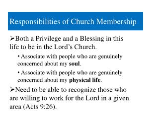 Responsibilities of Church Membership