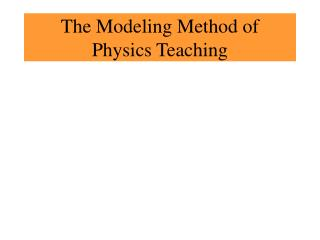 The Modeling Method of  Physics Teaching