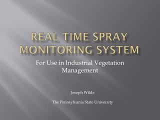 Real Time Spray monitoring system
