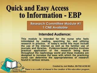 Research Committee Module #1 1 CNE Available