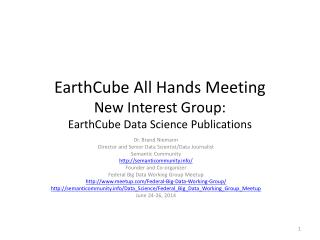 EarthCube  All Hands Meeting New Interest Group: EarthCube  Data Science Publications