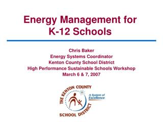 Energy Management for K-12 Schools