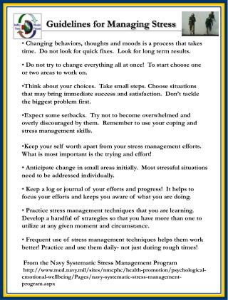 Guidelines for Managing Stress