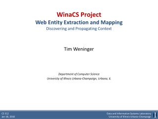 WinaCS  Project Web Entity Extraction and Mapping  Discovering and Propagating Context