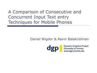 A Comparison of Consecutive and Concurrent Input Text entry Techniques for Mobile Phones