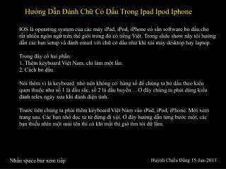Hướng Dẫn Đành Chữ Có Dấu Trong Ipad Ipod Iphone