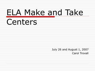 ELA Make and Take Centers