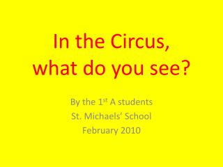 In the Circus,  what do you see?