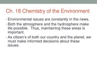 Ch. 18 Chemistry of the Environment