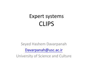 Seyed Hashem Davarpanah Davarpanah@usc.ac.ir University of Science and Culture