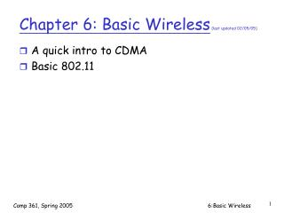 Chapter 6: Basic Wireless  (last updated 02/05/05)