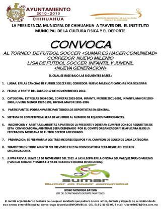 CONVOCA AL TORNEO  DE FUTBOL SOCCER  «SUMAR ES HACER COMUNIDAD» CORREDOR  NUEVO MILENIO