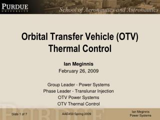 Orbital Transfer Vehicle (OTV)  Thermal Control