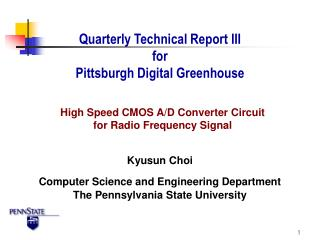 Quarterly Technical Report III for Pittsburgh Digital Greenhouse