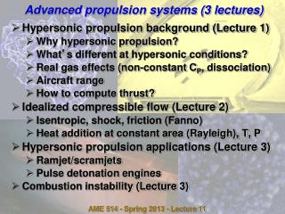 Advanced propulsion systems (3 lectures)