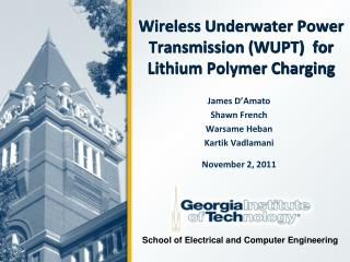 Wireless Underwater Power Transmission (WUPT)  for  Lithium Polymer Charging