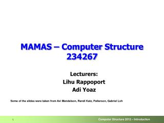 MAMAS – Computer  S tructure 234267