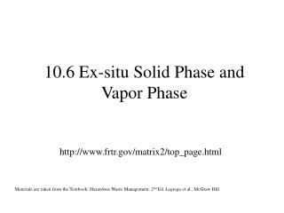 10.6 Ex-situ Solid Phase and Vapor Phase