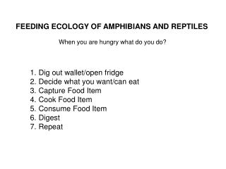 FEEDING ECOLOGY OF AMPHIBIANS AND REPTILES