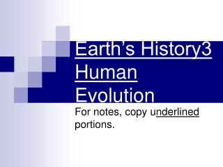 Earth's History3 Human Evolution