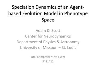 Speciation Dynamics of an Agent-based Evolution Model in Phenotype Space