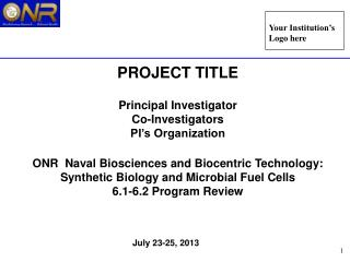 PROJECT TITLE Principal Investigator Co-Investigators PI's Organization