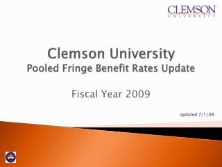 Clemson University Pooled Fringe Benefit Rates Update