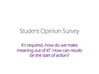Student Opinion Survey