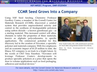 CCMR Seed Grows Into a Company