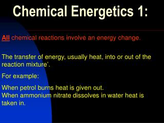 Chemical Energetics 1: