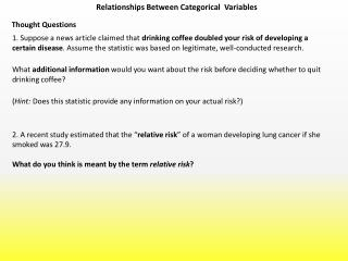Relationships Between Categorical  Variables