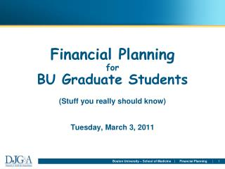 Financial Planning  for BU Graduate Students